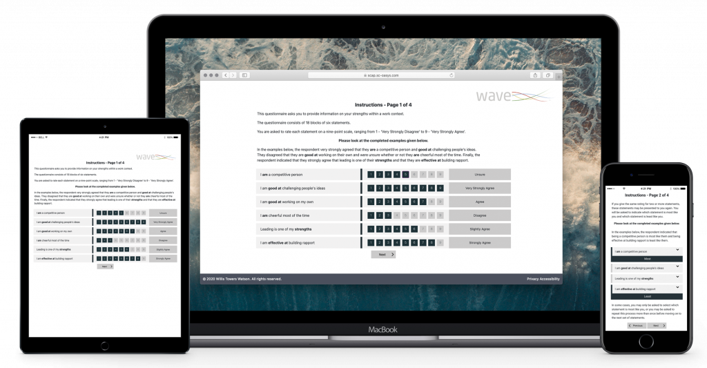 Wave Work Strengths Candidate Experience on Laptop, Tablet and Mobile Devices